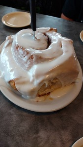 The famous 3 pound cinnamon roll at LuLu's Bakery & Cafe.